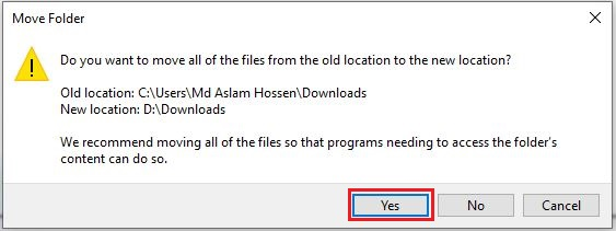 windows 10 move downloads folder to another drive